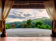 Paysage de la terrasse du Luna Lodge