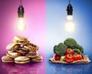Concept de restauration avec repas contraste