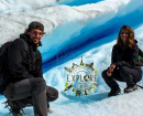 Jules et Maryne sur le glacier Perito Moreno en Argentine